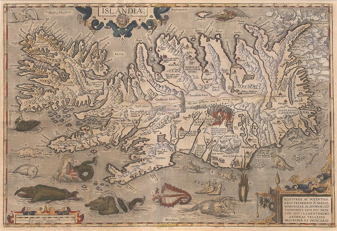 Íslandskort Guðbrands biskups Þorlákssonar frá árinu 1590, þar sem Hekla er teiknuð eins og dyr að helvíti. (Sótt á vef Íslandskorts).