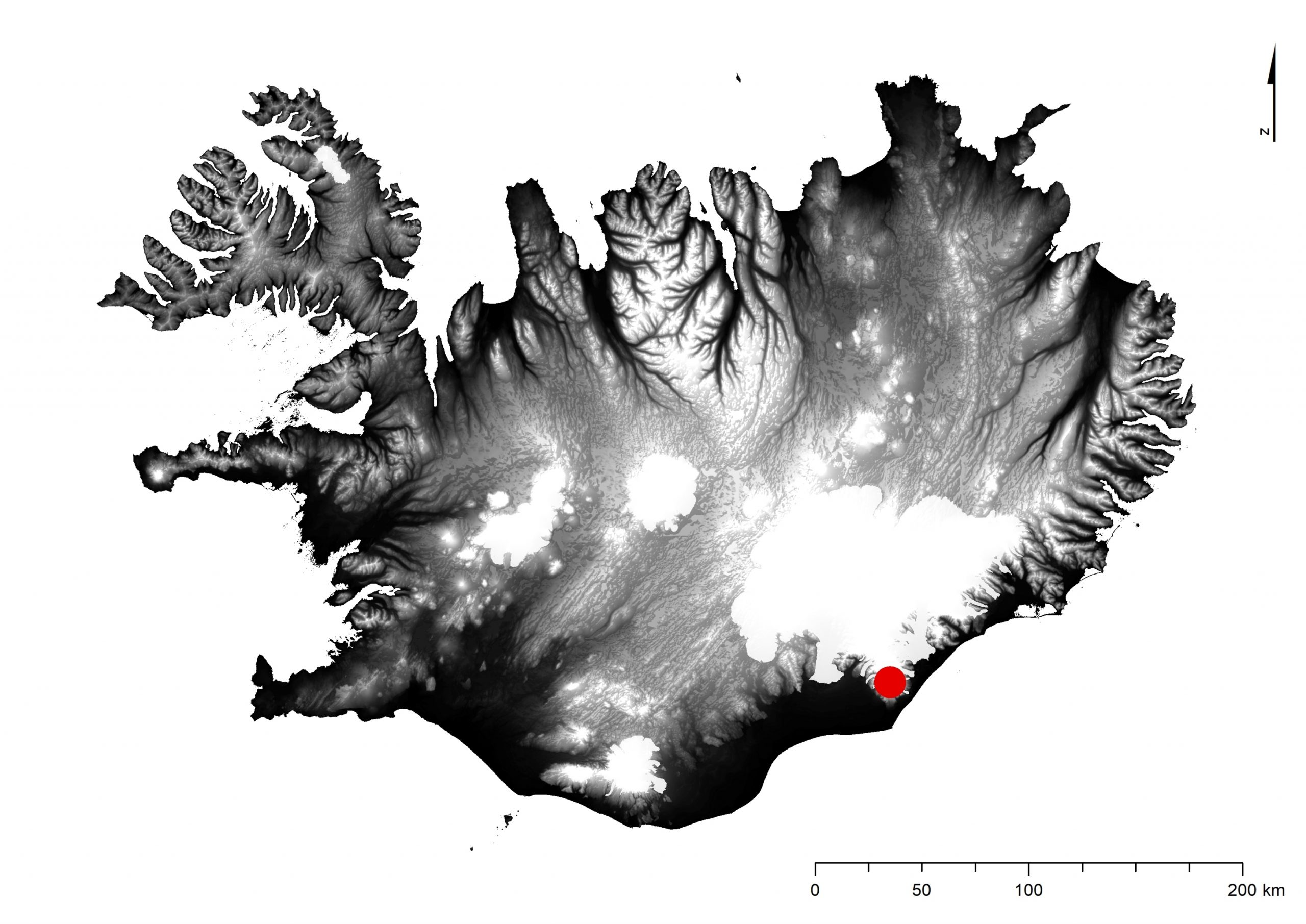 Askja í Dyngjufjöllum í Ódáðahrauni er merkt með rauðum punkti á kortið.